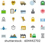 transportation colored flat... | Shutterstock .eps vector #604442702