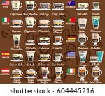 coffee recipes from around the... | Shutterstock .eps vector #604445216