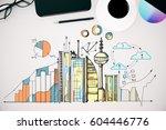 top view of office desktop with ...   Shutterstock . vector #604446776