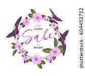 summer tropical sale design... | Shutterstock .eps vector #604453712