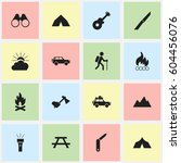 set of 16 editable trip icons.... | Shutterstock . vector #604456076