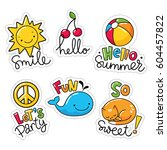 vector set of cool stickers ... | Shutterstock .eps vector #604457822