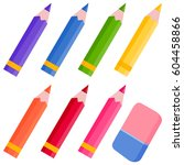 colored pencils and eraser | Shutterstock .eps vector #604458866
