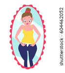 girl trying to wear tight jeans.... | Shutterstock .eps vector #604462052