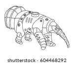steam punk style anteater.... | Shutterstock . vector #604468292