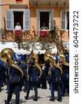 corfu  greece  april 20  2008 ... | Shutterstock . vector #604473722