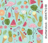 seamless summer pattern with... | Shutterstock .eps vector #604474148