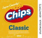 potato chips logo design | Shutterstock .eps vector #604475972