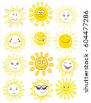 cartoon smiling sun with... | Shutterstock .eps vector #604477286