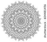 mandala sketch round ornament ... | Shutterstock .eps vector #604481456