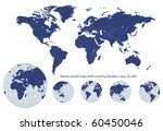 world map with earth globes ... | Shutterstock .eps vector #60450046