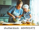 happy family in the kitchen.... | Shutterstock . vector #604501472