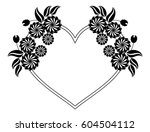 heart shaped black and white... | Shutterstock .eps vector #604504112
