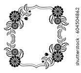 black and white frame with... | Shutterstock .eps vector #604504862