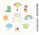 hello spring. round card with... | Shutterstock .eps vector #604506488