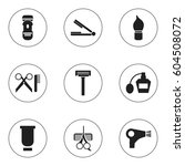 set of 9  barber icons....