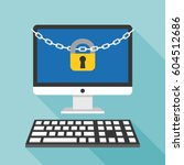 lock and chain on desktop and... | Shutterstock .eps vector #604512686