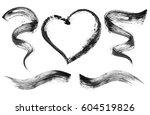 set of black mascara strokes... | Shutterstock . vector #604519826