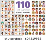 big set of 110 flat cartoon...   Shutterstock .eps vector #604519988