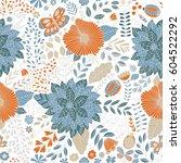 vector flower pattern. seamless ... | Shutterstock .eps vector #604522292