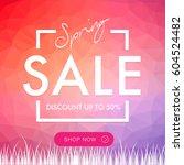 spring sale social network... | Shutterstock .eps vector #604524482