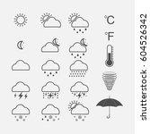 weather icons set. vector... | Shutterstock .eps vector #604526342