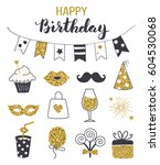 birthday party icon set  black... | Shutterstock .eps vector #604530068