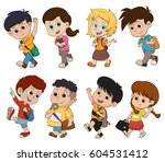 kid waking to school.back to... | Shutterstock .eps vector #604531412