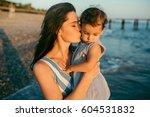 beautiful portrait of mother... | Shutterstock . vector #604531832