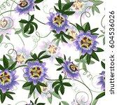 passiflora seamless pattern.... | Shutterstock .eps vector #604536026