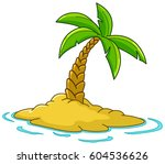 desert island with palm tree | Shutterstock .eps vector #604536626
