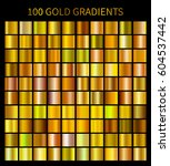 gold gradients 100 big set.... | Shutterstock . vector #604537442