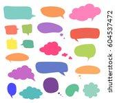 set of blank colorful speech... | Shutterstock . vector #604537472