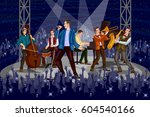 group of people performing live ... | Shutterstock .eps vector #604540166