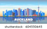 auckland   new zealand  ... | Shutterstock .eps vector #604550645
