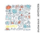 world travel. hand drawn.... | Shutterstock .eps vector #604556306