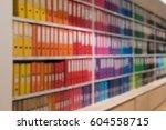 blurred office document folders ...   Shutterstock . vector #604558715