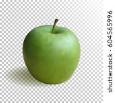 realistic fresh green apple ...   Shutterstock .eps vector #604565996