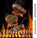 beef milled meat on hamburger... | Shutterstock . vector #604566218