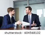 job interview   happy recruiter ... | Shutterstock . vector #604568132