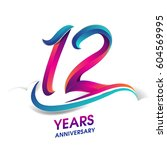 twelve years anniversary... | Shutterstock .eps vector #604569995