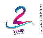 two years anniversary... | Shutterstock .eps vector #604570022
