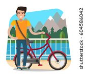 man with bike on nature... | Shutterstock .eps vector #604586042