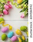colorful easter eggs and spring ... | Shutterstock . vector #604586942