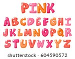 cute bold font in pink color... | Shutterstock .eps vector #604590572