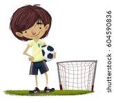 children soccer player with ball   Shutterstock . vector #604590836
