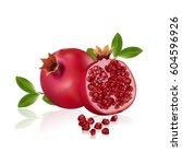 fresh pomegranate fruits... | Shutterstock .eps vector #604596926