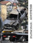 fire damage on wrecked car as...