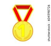 gold medal sign. symbol of... | Shutterstock .eps vector #604598726