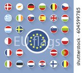 set of european union flags....   Shutterstock . vector #604599785